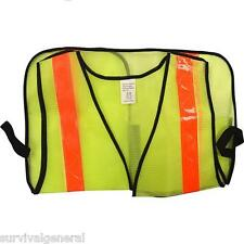 Lime Green Orange Reflective Safety Mesh Vest One Size O/S Emergency Road