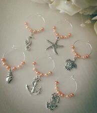 6 Nautical Wine Glass Charms Garden Party Weddings Holiday Any Colour Occasions