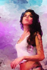 Amy Winehouse portrait painting in acrylic on canvas by Brian Tones