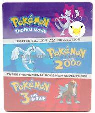 NEW Pokemon SteelBook Blu-Ray Set The First Movie - Pokemon 2000 - Pokemon 3