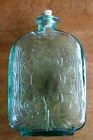 "Beautiful Green Glass Bottle w/ Embossed Sunflower Design & Cork 8-1/2"" Tall"