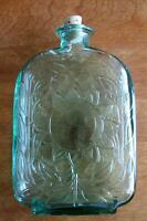 "Beautiful Green Glass Bottle w/ Embossed Sunflower Design & Cork8-1/2"" Tall"