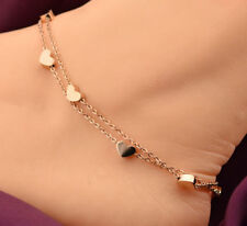 NEW Rose Gold Stainless Steel Heart Charm Anklet Foot Ankle Chain Bracelet