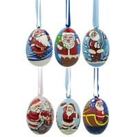 Set of 6 Santa Claus Wooden Christmas Ornaments 3 Inches