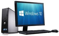 """Windows 10 Cheap Fast Dell Core 2 Complete Set 17"""" Monitor Computer PC Desktop"""