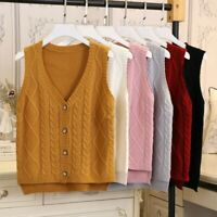 Lady Cable Knit Vest Sweater Jumper Waistcoat Sleeveless Cardigans Knitwear Tops