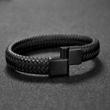 Leather Mens Black Braided Leather Wristbands Bracelets Magnetic Clasps