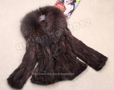 100% Real Knitted Mink Fur Coat Outwear Jacket Big Raccoon Collar Fashion Spring