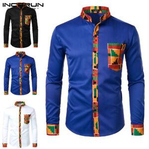 INCERUN Men's African Print Long Sleeve Formal Dashiki Smart Shirt Blouse Shirt