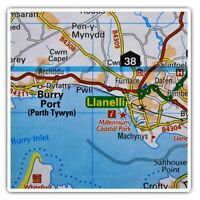2 x Square Stickers 10 cm - Llanelli Wales UK Travel Map  #45594
