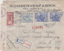 Greece-1941 WW 2 German censored Athens registered cover to Vienna, Austria
