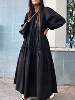 NWT ZARA Black Poplin Midi Dress Balloon Sleeves Ruffle Size XL $69 #1112Y