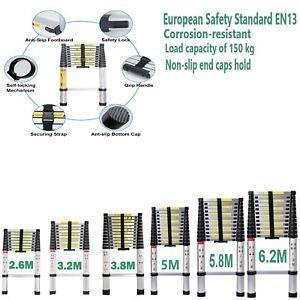 2.6M TO 5M Telescopic Ladder Folding 2 3 4 Step Ladder Safety non slip