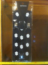 Dollar Sign Black Braces Suspenders Men Business Man Funny Fancy Dress Up New