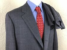 Vintage Brooks Brothers Tweed 3 Roll 2 Gray Glen Plaid Suit Mens 46R 42 X 30