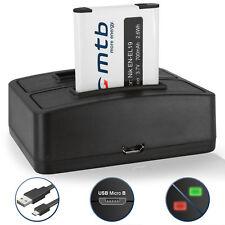 Batterie EN-EL19 + Chargeur double pour Nikon Coolpix S5200, S6400, S6500, S6600