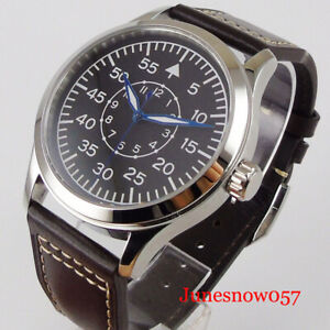 Sterile Luminous Automatic Men Watch Sapphire Crystal Leather Band Glass Back