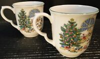 Nikko Happy Holidays Window Accent Mugs Cups Christmas Tree Set of 2 Excellent