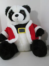 "Panda Bear Plush 20"" Black and White w/Santa Coat and Belt Christmas Holiday"