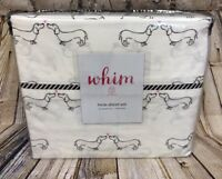 Martha Stewart Whim Twin Sheet Set Dachshund Kiss Dogs 4 Piece 200 Thread Cotton