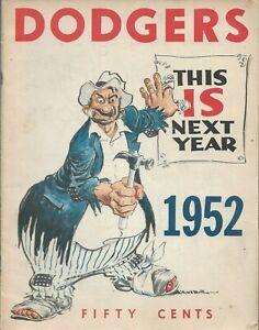 1952 LOS ANGELES DODGERS BASEBALL Yearbook, Excellent, Original, Carl Erskine