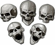 5 Skulls Tool Box Bumper Sticker Vinyl Decal