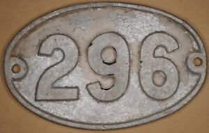 Old English cast metal oval house number 296 door gate plate fence plaque sign