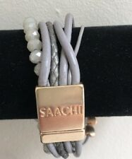 Saachi  Leather Multi Wrap Bracelet~Beige Taupe~Gold Tone~Crystals