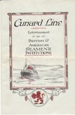 Original 1923 Cunard Line Entertainment Program for British & USA Seamen's Aid