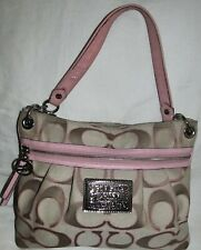 Coach Poppy Lurex Pink Moonlight Sateen Medium Hobo Tote Shoulder Bag Purse