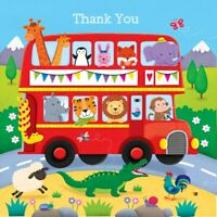 Red Double Decker Cute Animal Bus Thank You Pack of 5 Premium Cards & Envelopes