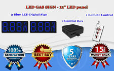 """2 x 12"""" Blue Led Gas Price Changer Panel - Digital Signs 5 Years Warranty"""