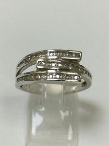 Unusual 9 Carat White Gold GENTS DIAMOND SET Ring