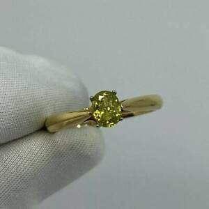 FINE Fancy Vivid Yellow Green Diamond 0.51 Carat Solitaire 18 Karat Gold Ring