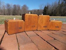 Set of 4 Vintage Lesco Baribo-Maid Canada Wood Storage Kitchen Canisters