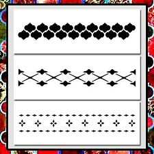 Set 3 MOROCCAN Border Patterns STENCILS 4 X 11 each Paint/Airbrush/Craft/Floral