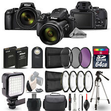 Nikon COOLPIX P900 Digital Camera 83x + LED + 7PC Filter + EXT BAT - 64GB Bundle