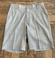 FOOTJOY Men's Golf Shorts Beige Blue Pinstripe Check Plaid Size 32 Flat Front