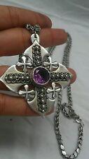 Beautiful vtg Jerusalem 900 silver amethyst cross sterling 925 chain necklace