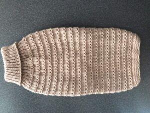 Hand Knitted Dog Coat/Jumper - Medium - Biege
