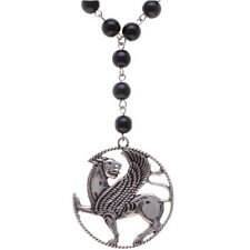 Silver Pt Iranian Persian Winged Lion Necklace Agate Bead Chain Iran Gift Art