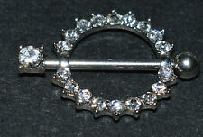 ROUND NIPPLE SHIELD BAR ENCRUSTED WITH CLEAR CRYSTAL Cz STONES 12 MM BY 1.6