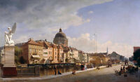 Charming Oil painting cityscape of old town street scene with church  buildings