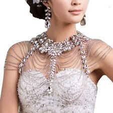 Bridal crystal Rhinestone shoulder deco Bra Strap Halter Epaulet necklace HR240