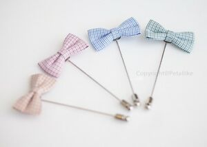 Check bow Men's Boutonniere/Buttonhole for wedding,Lapel pin,hat pin,tie pin