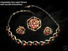 Vintage Red AB Rhinestone 3pc Jewelry Set CAT RESCUE