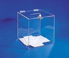 Urna trasparente 25x25x25cm per elezioni sondaggi offerte statische beneficenza