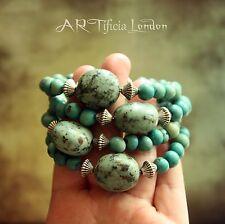 Africana Turquesa & Acai Semilla Con cuentas Pulsera | joyas de piedras preciosas de meditación