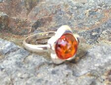 Sterling Silver .925 Amber Ring NEW - Size 7