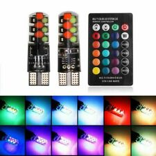 2X T10 5050 W5W 6 SMD Remote Control RGB LED Car Dome Reading Light Lamp Bulb